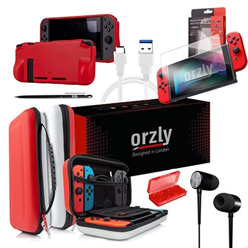 ORZLY® Switch Accesoires, Zubehör für Nintendo Switch (Panzerglas Schutzfolien, USB Ladekabel, Konsole Tragetasche, Spiele Patronenhülse, Comfort Grip Case, Kopfhörer) Poke (ROT/SCHWARZ/WEIß)
