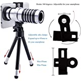 AFAITH®Universal Smart Phone Camera Lens Kit Including One 12x Zoom Aluminum Telephoto Manual Focus Telescopic Camera Lens + One Mini Tripod + One Universal Lens and Phone Holder + One Flannelette Bag for iPhone 6, iPhone 6s, iPhone 4 5 5s 5c 6 , Samsung Galaxy S4 S5 S6 i9500 i9600, Note II Note 3, HTC , Nokia ,Huawei ,Blackberry ,LG and Other Smart phones (Width from 5.5cm to 8.5 cm) PA023, [Importado de UK]