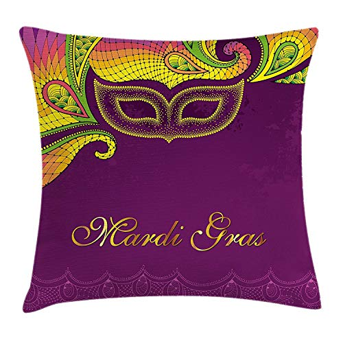 ERCGY Mardi Gras Throw Pillow Cushion Cover, Colorful Lace Style Corner Ornaments Calligraphy Dotted Mask Design, Decorative Square Accent Pillow Case, 18 X 18 Inches, Purple Yellow ()