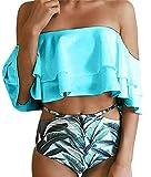 ATEENY Set da Donna Tankini Con Pantaloncini da Bagno Per Donna Costumi da Bagno Due Pezzi (XL, Blu)