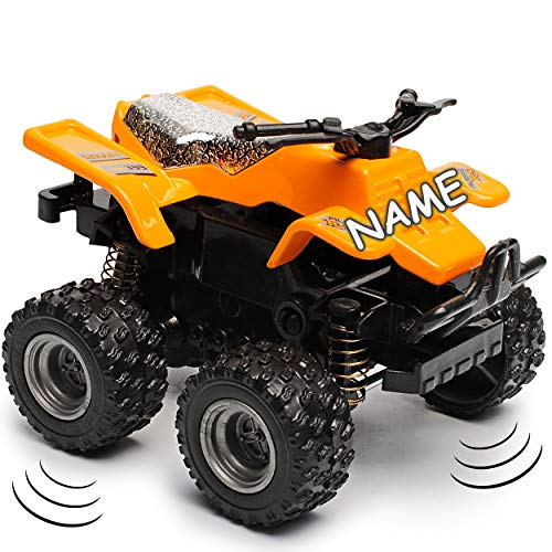 alles-meine.de GmbH Schwungrad Antrieb - Quad / ATV - orange - zum Aufziehen & Fahren - inkl. Name - bewegliche Räder - aus Metall & Kunststoff - Spielzeugquad - Auto / Aufziehfa.. - Schwungrad-auto