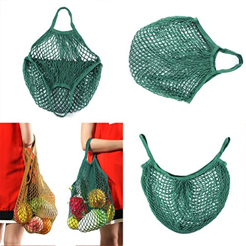 Houkiper Wiederverwendbare Einkaufstaschen Baumwolle Portable Wiederverwendbare Mesh Net Taschen String Shopping, Lebensmittelgeschäft Obst Gemüse Taschen (Grün)