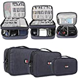 BUBM 3-piece Padded Gear Case, Ultra-compact Electronics Organiser for Camera Gear, Data Cables, Chargers, Plugs, Memory Cards, CF Cards and More--Double Layer Compartment with Zipper Closure, Dark Blue