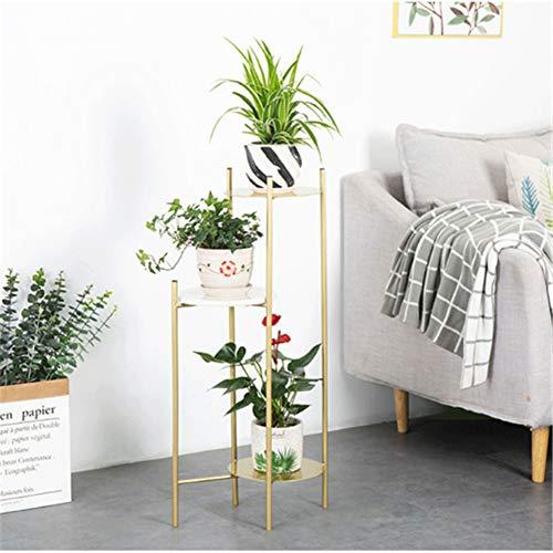 QINAIDI Pflanzenständer, perfekt für Blumen-, Foto- und Kerzen-Displays, mehrschichtiges Wohnzimmer mit Balkon, Blumenständer für Zimmerpflanzen,Gold,S -