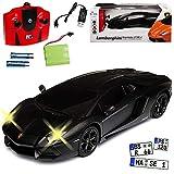 alles-meine GmbH Lamborghini Aventador LP700-4 Coupe Matt Schwarz 2,4 GHz RC Funkauto mit Beleuchtung und Akkupack 1/24 Siva Modell Auto