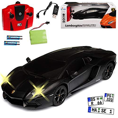 Siva Lamborgihini Aventador LP700-4 Coupe Matt Schwarz 2,4 GHz RC Funkauto mit Beleuchtung und Akkupack 1/24 Modell Auto mit individiuellem Wunschkennzeichen
