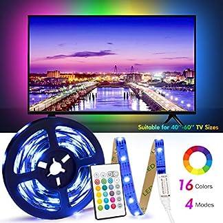 Retroilluminazione TV LED ad USB di Lunghezza 2.4M Adatto per HDTV da 40-65 Pollici, 24 Tasti Telecomando ad Infrarossi in Grado di telecomandare Striscia Luminosa a LED, RGB 5050 Luce con 16 Colori