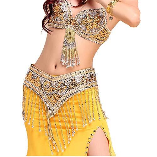 CPH20 Fischschwanz Tanzkleid Perlen Sexy Indian Dance BH Set Bauchtanz Kostüm 3tlg Tanzfee, Tanzleben. (Farbe : Gelb, Größe : - Black Indian Girl Kostüm