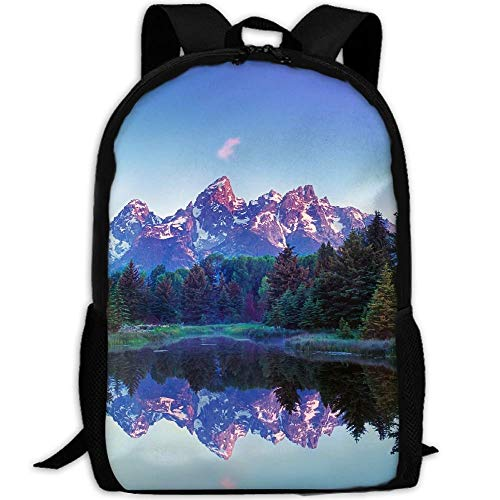 TRFashion Grand Teton National Unisex Custom Backpack School Casual Sports Book Bags Durable Oxford College Laptop Computer Shoulder Bags Lightweight Travel Daypacks Rucksack