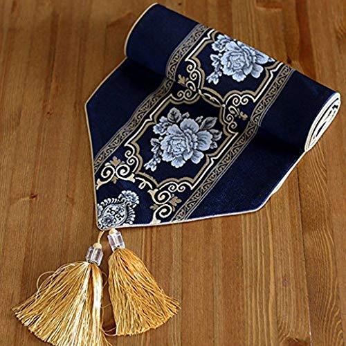 YouYou-YC Zen einfache Klassische Esstisch Tisch Flagge amerikanische pastoralen Veranda Teetisch TV Schrank Stoff Jacquard Tischdecke (Farbe : Blau, größe : 33 * 200cm)