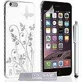 Yousave Accessories Floral Butterfly Hard Cover Fall mit Stylus Eingabestift für iPhone 6Plus–weiß/silber