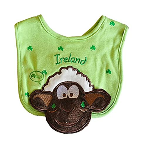 Seamus The Sheep Green Squeaky Bib With Shamrock Design And Ireland Text