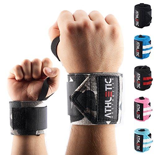 Handgelenkbandage [2er Set] in 45cm / 60cm Länge - Wrist Wraps fürs Krafttraining, Bodybuilding, Crossfit und Fitness - Handgelenkbandagen für Frauen und Männer geeignet - ATHLETIC AESTHETICS (Camou, 45 cm)