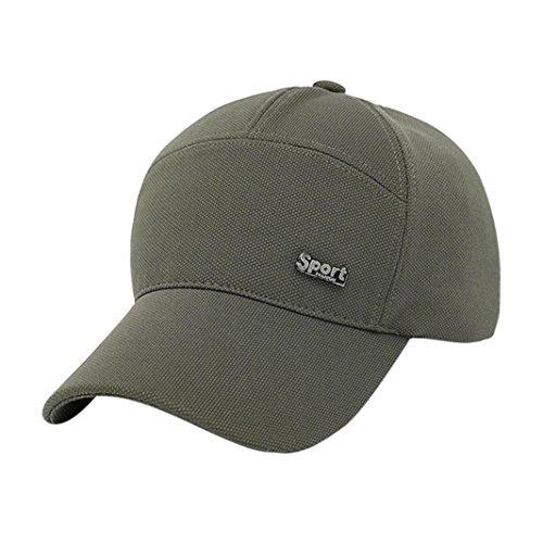 Rawdah Mujeres Hombres sombrero gorra de béisbol solido Hip Hop Ajustable (Verde)