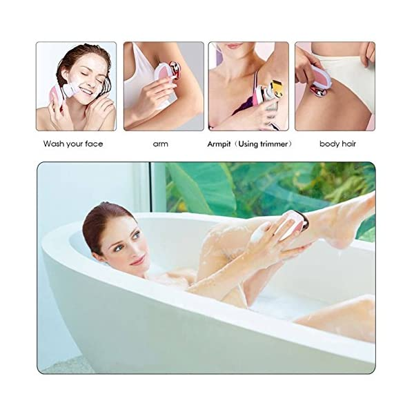 HATTEKER Legs Hair Remover Electric Shaver For Women Lady Shaver Cordless Wet Dry 3 In 1 Bikini Trimmer Shaver Razor Facial Brush USB Rechargeable
