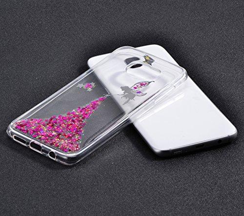 Vandot Etui Transparent Case pour Samsung Galaxy S7 Edge Coque de Protection en TPU Gel Invisible avec Absorption de Chocs Etui TPU Silicone Case Ultra Slim Thin Hull pour Samsung Galaxy S7 Edge Soupl Fée - Rose Rouge