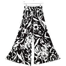 Vin beauty negro Blanco Las señoras de las mujeres Vogue Plus Yoga Pierna ancha pantalones Palazzo Pantalones elástico S