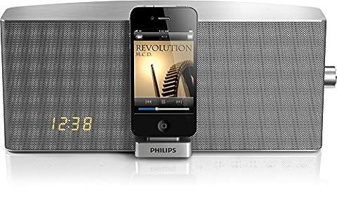 Philips Dockingstation für iPhone/iPod TCI360/12 - Docking-Lautsprecher (20 W, 3,5 mm, iPhone 3G,iPhone 3GS,iPhone 4,iPhone 4S,iPod Mini 1,iPod Mini 2,iPod Nano 1,iPod Nano 2,iPod Nano..., LED, Bernstein, Silber)