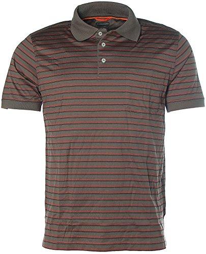 Kitaro Herren Kurzarm Shirt Poloshirt Polokragen Streifen Dark Mauve