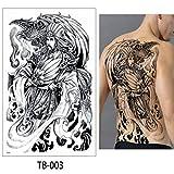 Handaxian 2pcsFull copias de Las alas Grandes Joya Cruz dragón Etiqueta engomada del Tatuaje Cuerpo Femenino Impermeable con el Arte del Tatuaje