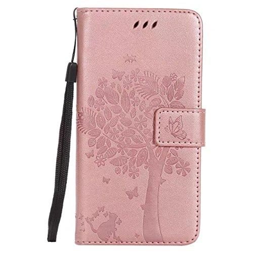 HUAWEI P9 Lite Fall, Solid Color glücklicher Baum und Katze Embossing Folio Kickstand Fall-Mappen-Kasten für HUAWEI P9 mini ( Color : Pink ) Rosegold