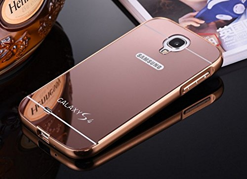 AEMA (TM) Luxury Metal Bumper + Acrylic Mirror Back Cover Case For SAMSUNG GALAXY S4 ROSE GOLD  available at amazon for Rs.295