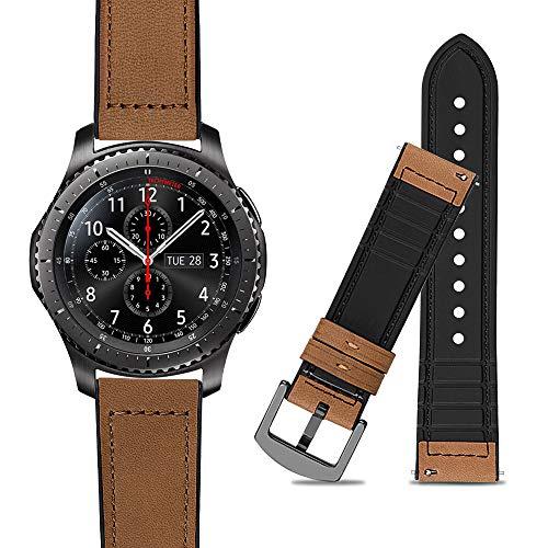 iBazal 22mm Armband Leder Hybrid Gummi Silikon Ersatz für Samsung Gear S3 Frontier/Classic SM-R760,Galaxy 46mm SM-R805/800,Huawei GT/2 Classic/Honor Magic,Ticwatch Pro,Moto 360 2nd Gen 46 - Hellbraun
