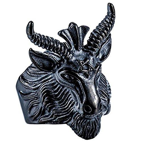 Anillo tipo alianza de acero inoxidable para hombre, estilo vintage/gótico/satánico, con cabeza de cabra con cuernos (Bafomet) Aries del Zodiaco; para moteros, tallas 7 a 13.
