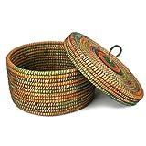 Krimskramskorb Ø 40cm | Aufbewahrungskorb mit Deckel | Handarbeit | Fair Trade
