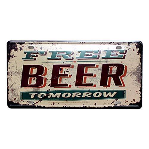 Qinlee Vintage Metall Post Bar Zeichen Metall Malerei Plauge Tin melden Werbung Retro Metall Wand-Dekoration für Home Shop-Wand-Dekor Biere der Welt-Free Beer -