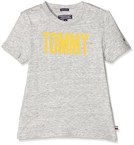 Tommy Hilfiger Ame Flock Tommy Cn tee S/s, Camiseta para Niños, Gris...