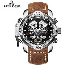 Reef Tiger deporte Mens relojes cuero marrón Correa acero militar reloj automático RGA3503
