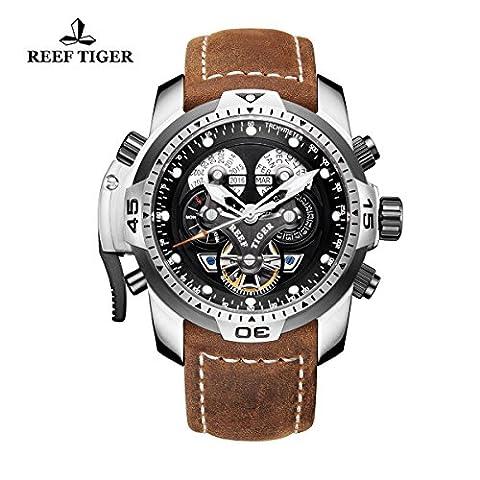 Reef Tiger Sport Mens montres en cuir brun véritable bracelet acier militaire montre automatique RGA3503