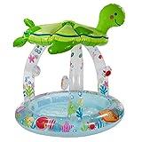 Planschbecken Babypool Kinderpool mit Sonnendach Schwimmbecken Swimmingpool im Meeresschildkröten Design