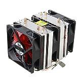Tutoy 4 Heat Pipes Red Led 3 Cpu Kühlung Kühler Lüfter Kühlkörper Für Amd Am2/2 + Am3 Intel Lga 1156
