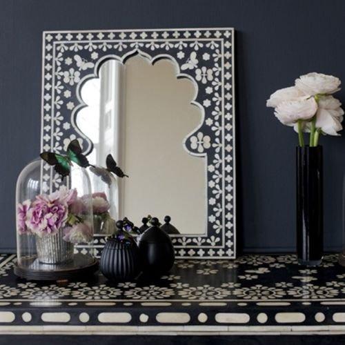 Osso intarsio specchio telaio nero mano intarsi antico Home Decor (Intagliato A Mano Madreperla)