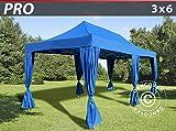 Dancover Faltzelt Faltpavillon Wasserdicht FleXtents PRO 3x6m Blau, inkl. 6 Gardinen