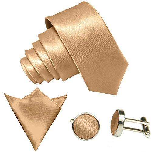 3-SET Beige Krawatte moderne Breite 8,5cm Binder Manschettenknöpfe Einstecktuch Satin Seide-Optik Hochzeitskrawatte
