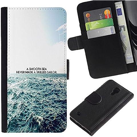 SmartPhone Portafoglio in pelle PU Caso Cover protettiva Slot denaro Slot per schede di Cassa Custod Samsung Galaxy S4 IV I9500 // Un Mare Poster Liscio // JUSTGO PHONE PROTECTOR