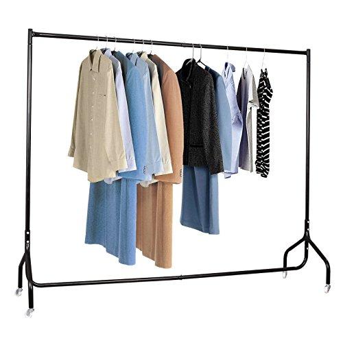 Voilamart Warehouse Stabiler Großer Kleiderständer Garderobenständer Robuste 183cm Lange Profi Kleiderstange komplett aus Stahl in Schwarz