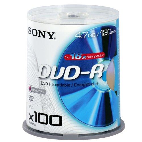 Sony dvd-r vergini 16x, 4,7gb, 120min in campane da 100 pezzi