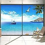JiaQi Sonne Sichtschutzfolie,Statische Fensterfolie,Selbstklebend Fenster Dekor Arbeit Badezimmer Schlafzimmer [Anti Geleert] Undurchsichtig deckkraft-A 70x120cm(28x47inch)