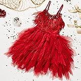 MisShow Tüll Kinder Kleid Hochzeitskleider für Mädchen Partykleid Geburtskleid Rot 120CM