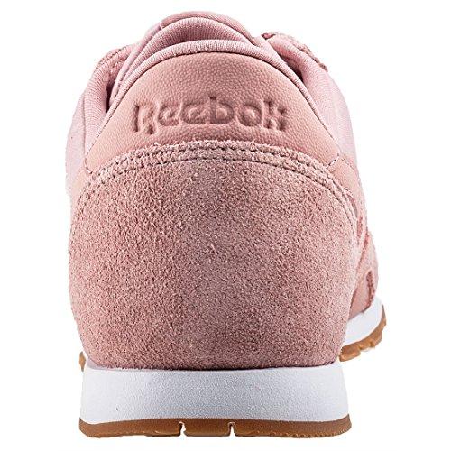 5b676c879b1 ... Reebok Damen Classic Nylon Slim Text Lux Sneaker Pink (Chalk Pink White  Gum ...