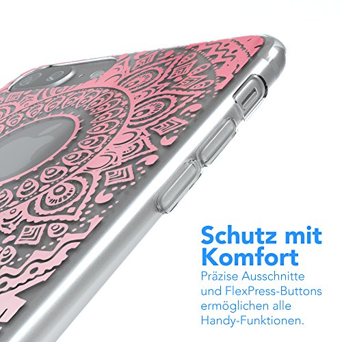 "iPhone 8+ Hülle / iPhone 7+ Hülle - EAZY CASE Slimcover ""Henna"" Handyhülle für Apple iPhone 7 Plus & iPhone 8 Plus - Flexible Schutzhülle mit Indian Sun Design in Weiß / Rosa Transparent Pink / Weiß"