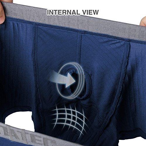 Separatec Herren 3er Pack BoxerShorts, Weich und Elastisch Streifen Muster Modal Separate Beutel Bequeme Unterwäsche Navy Blau