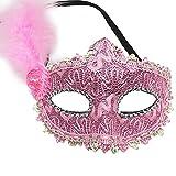 Qinlee Masquerade Maske Mit Feder Augenmaske Venezianische Halloween Karneval Maskentanz Party für Mädchen (Pink)