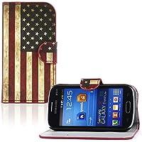 tinxi® Kunstleder Tasche für Samsung Galaxy Trend Lite Tasche Flipcase Schutzhülle Cover Schale Etui Skin Standfunktion mit Karten Slot USA Flagge