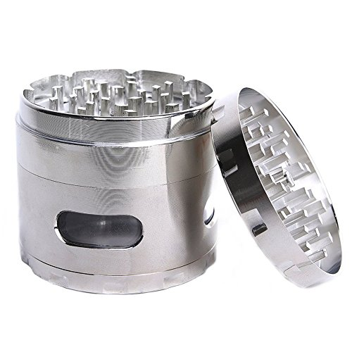 Dcou New design premium macinino 5,6 cm 4 Piece with Pollen Catcher durevole in lega di zinco Grinder Spice Grinder Silver