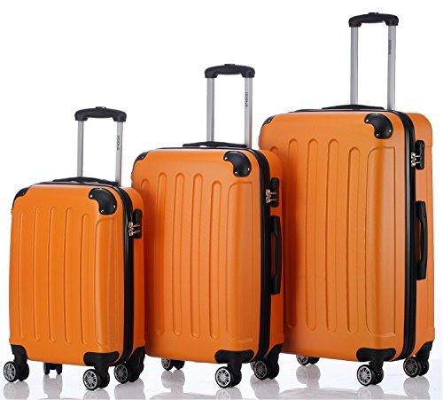 2045 Hartschale Koffer Kofferset Trolley Reisekoffer Größe XL-L-M in 12 Farben (Orangen, Set)